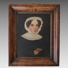 Antique Oil Portrait in Folk Tradition