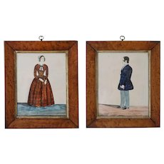 Antique folk Portraits of Husband and Wife