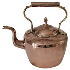 "Antique Copper Kettle with ""God Bless Our Home"""