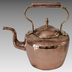 """Antique Copper Kettle with """"God Bless Our Home"""""""