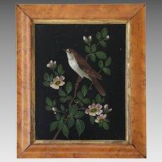Antique Victorian Bird Painting on Panel