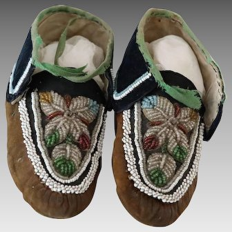 Antique Native American Beaded Moccasins