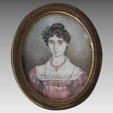 Antique Georgian Portrait of a Young Woman