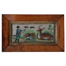 Antique Hunting Needlework Picture in Birdseye Frame