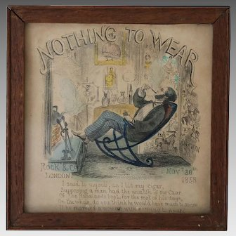Antique Cartoon 'Nothing to Wear' by Rock and Onwhyn