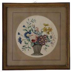 Antique Theorem Watercolor of Flowers