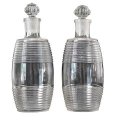Antique French Decanters in Barrel Form