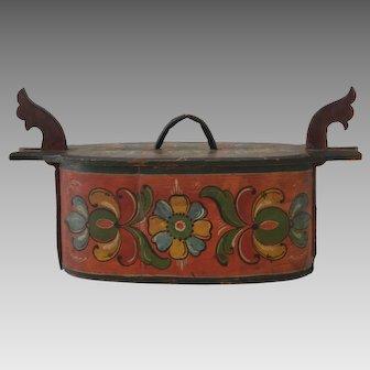 Antique Norwegian Rosemaling Bentwood Tine Box