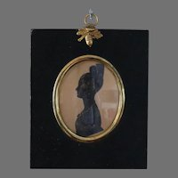 Antique Miniature Silhouette Of a Victorian  Young Lady