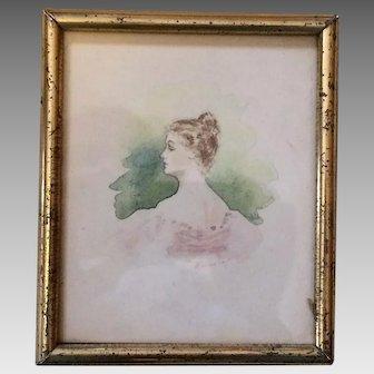 Miniature Antique Watercolor Portrait in Lemon Gilt Frame