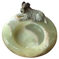 Cold Painted Bronze Terrier on Onyx Desk Tray