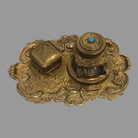 Antique Brass Inkstand Inkwell and Stamp Box In Rococo Manner