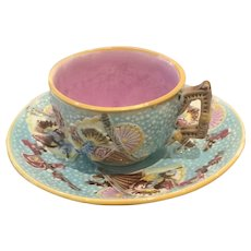 Antique English Majolica Cup Saucer in Fan Pattern