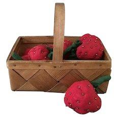 Antique Scandanavian Basket with Strawberries