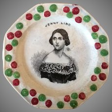 Jenny Lind Antique Pearlware Staffordshire plate