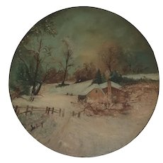 Antique Naive Folk Painting of a Winter Scene