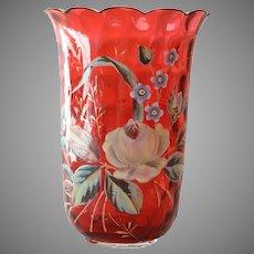 Cranberry Enameled Gilded Vase after Moser