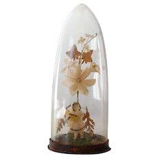 Antique Victorian Diarama in Glass Dome