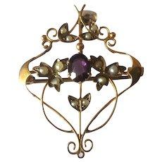 Seed Pearl Art Nouveau Pendant Brooch in 10K Gold