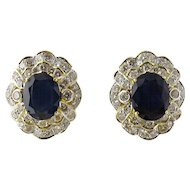 Vintage 18K Yellow Gold Blue Sapphire and Diamond Earrings Large Pierced