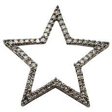Vintage 10 Karat White Gold and Diamond Star Pendant