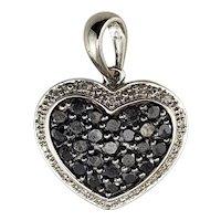 Vintage 14 Karat White Gold Black and White Diamond Heart Pendant