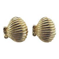 Vintage 14 Karat Yellow Gold Shell Earrings