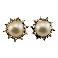 Vintage 14 Karat Yellow Gold Mabe Pearl and Diamond Earrings