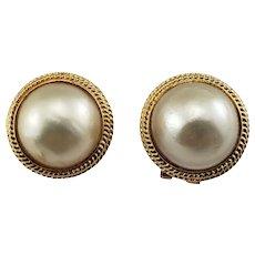 Vintage 14 Karat Yellow Gold Pearl Earrings