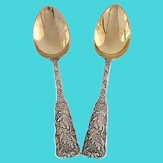 Set of 2 Gorham St Cloud Sterling Silver Gold Wash Bowl Demitasse Spoons