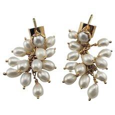 Vintage 14 Karat Yellow Gold and Pearl Dangle Earrings