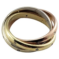 Vintage 14 Karat Tricolor Gold and Diamond Rolling Ring Size 7