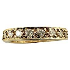Vintage 14 Karat Yellow Gold and Diamond Wedding Band Ring Size 5.75
