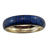 Vintage Hidalgo 18 Karat White Gold Blue Enamel Band Ring Size 7.25