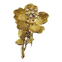 Vintage 18 Karat Yellow Gold and Diamond Flower Brooch/Pin