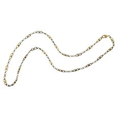 Vintage Cartier 18 Karat Yellow and White Gold Horseshoe Link Necklace