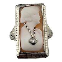 Vintage 14 Karat White Gold and Diamond Cameo Ring Size 6