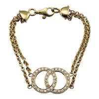Vintage Movado 18 Karat Yellow Gold and Diamond Double Circle Bracelet