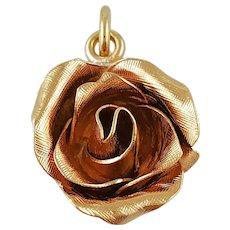 Vintage 14K Yellow Gold Rose Charm