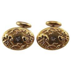 Vintage 14 Karat Yellow Gold and Diamond Cufflinks