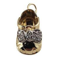 Vintage 14 Karat Yellow Gold and Diamond Baby Shoe Charm