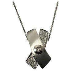 Vintage 14 Karat White Gold and Diamond Pendant Necklace