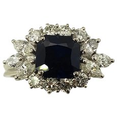 Vintage 18 Karat White Gold Sapphire and Diamond Ring Size 6.5 GAI Certified
