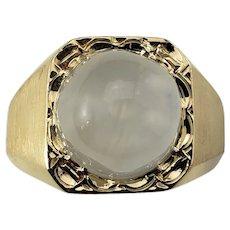 Vintage Men's 14 Karat Yellow Gold White Star Sapphire Ring Size 7.75 GAI Certified