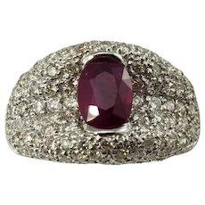 Vintage 18 Karat White Gold Ruby and Diamond Ring Size 6.25 GAI Certified