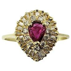 Vintage 14 Karat Yellow Gold Ruby and Diamond Ring Size 7 GAI Certified