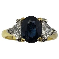 Vintage 18 Karat Yellow Gold Sapphire and Diamond Ring Size 5.5 GAI Certified