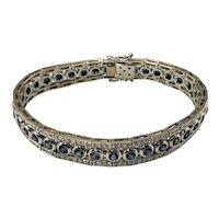 Vintage 18 Karat White Gold Sapphire and Diamond Bracelet GAI Certified