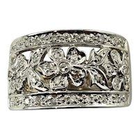 Vintage 14 Karat White Gold Floral Diamond Band Ring Size 5.25