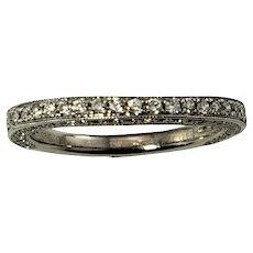 Vintage 14 Karat White Gold Diamond Wedding Band Ring Size 5.75